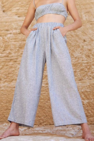Ozma Crop Wide Leg Pant - Ticking Stripe