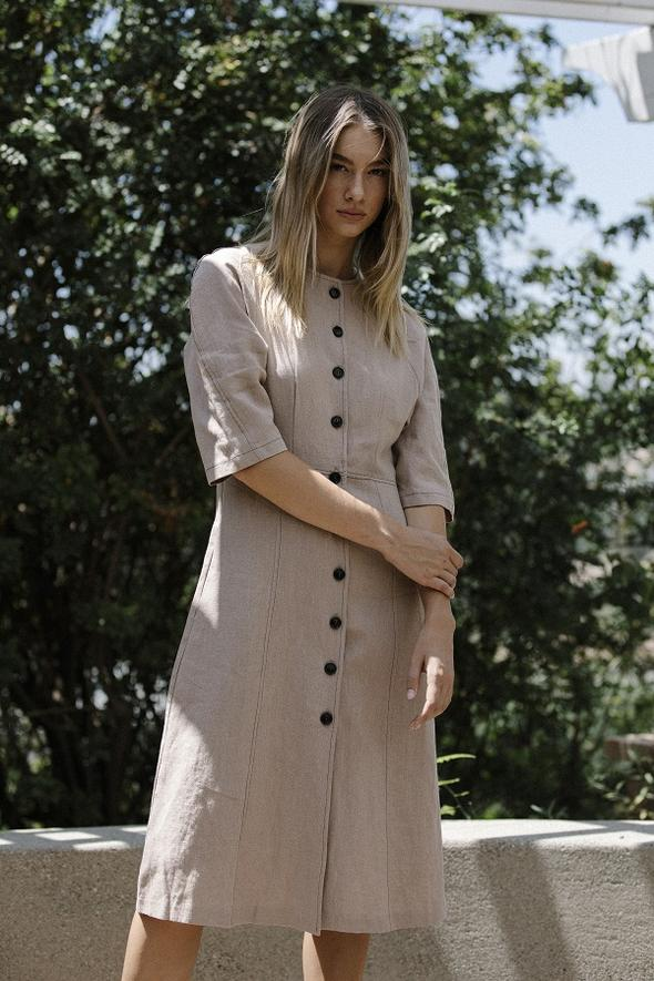 Six Crisp Days Valery Dress Tan pas mal nyc greenpoint brooklyn williamsburg boutique independent fashion lifestyle concept store fall19 winter19