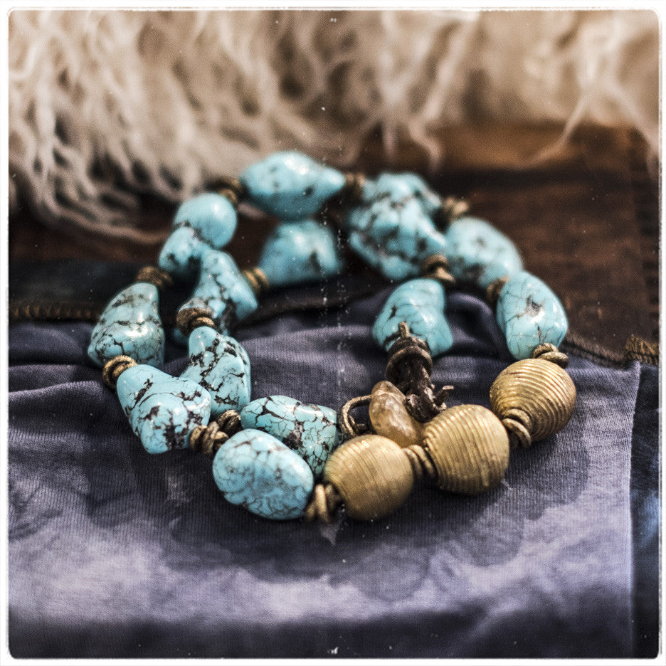 Turquoise | African Brass Beads | Choker Necklace | 2Chicas