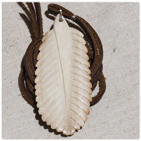 Carved Feather Necklace | Bonedust Jewelry | Mammoth Tusk