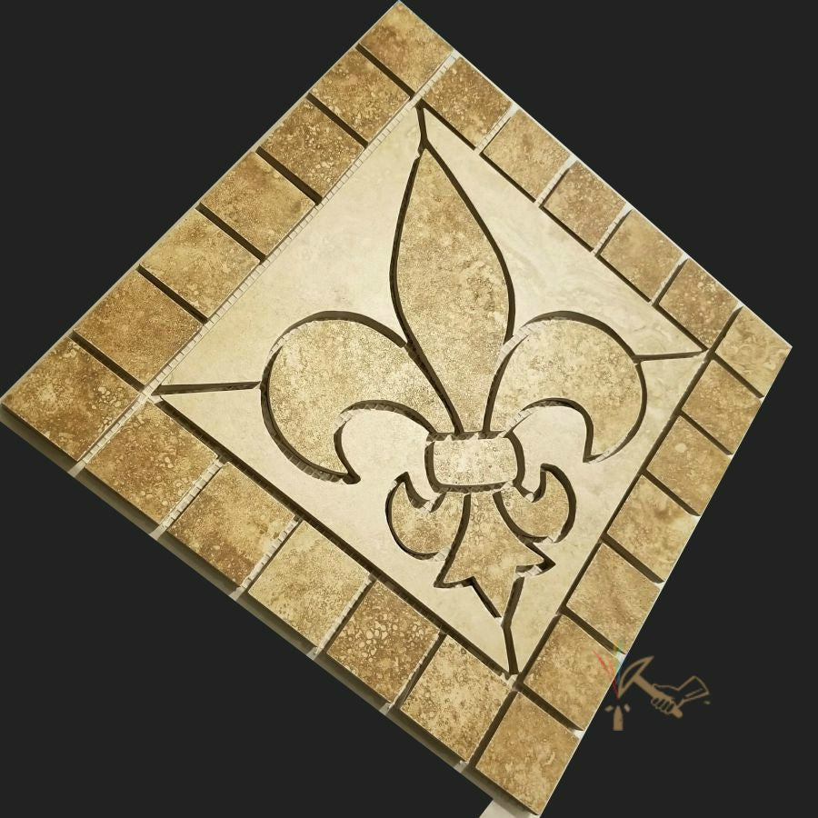 12 Fleur De Lis Porcelain Floor Medallion Dark Artisan Crafted