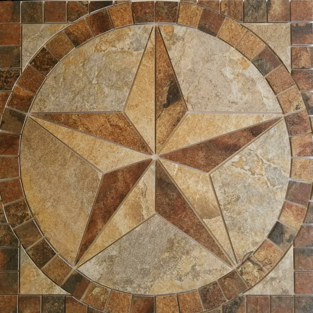 Made-to-Order: Porcelain Tile Texas Star Floor Medallion – Artisan ...