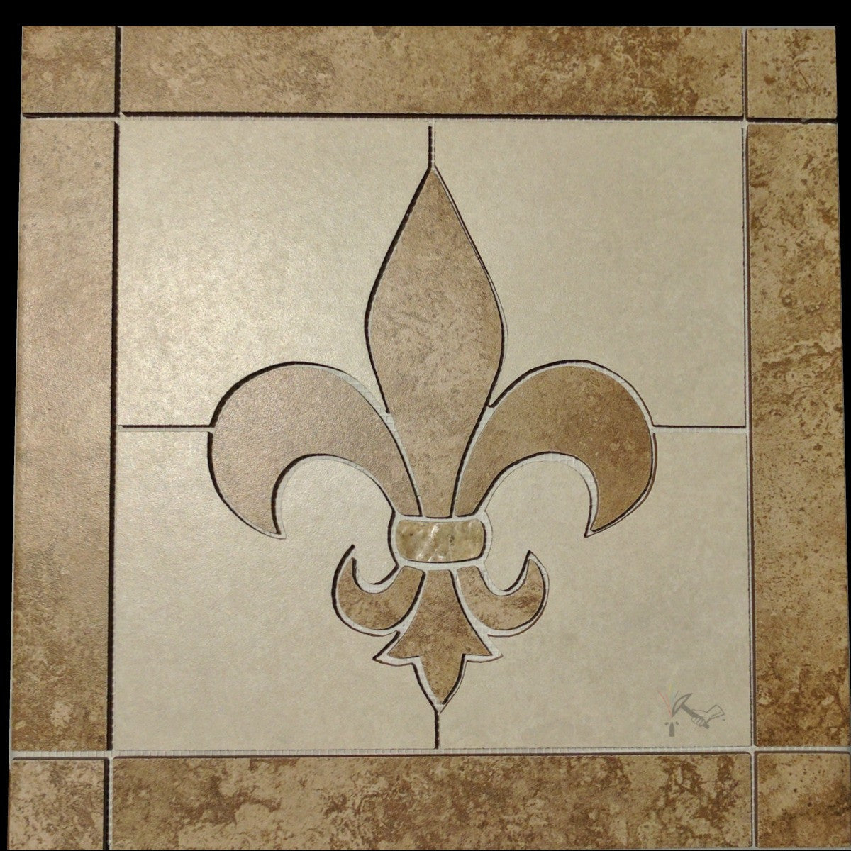 Square Ceramic Fleur De Lis Backsplash Tile Floor Medallion