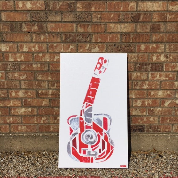 February Guitar by Pat Green 18x30