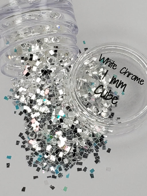 White Chrome 1mm Cube (135) - Glitter