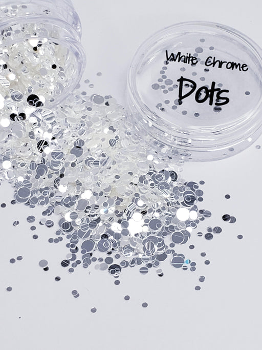 White Chrome Dots (137) - Glitter