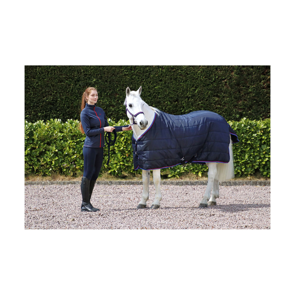 hy signature 250g stable rug navy/red/blue std neck only £29.99
