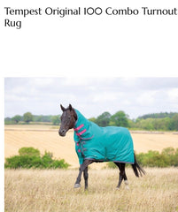 9338 shires tempest 100g turnout combo green/pink