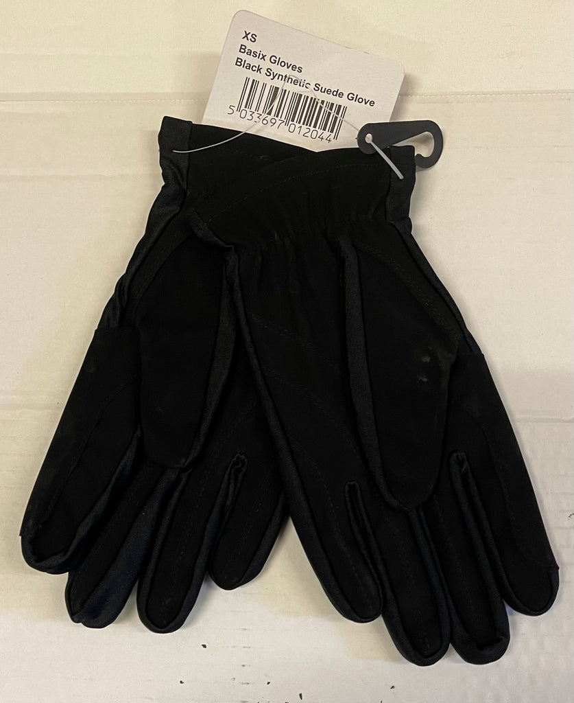 Basix gloves black synthetic suede adult gloves only £1 a pair