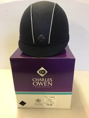 Charles Owen ayr8 midnight blue with piping £100 size 7 1/4 = 59cm trade sale all sales are final
