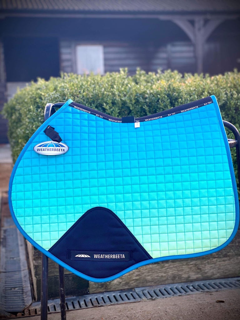 weatherbeeta prime ombre jump shaped saddle pad oceans reef pony or full size