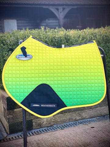 weatherbeeta prime ombre jump shaped saddle pad sunflower field full or pony size