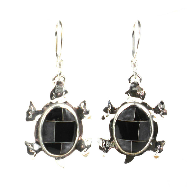 Turtle Earrings with Onyx Design - Artisana