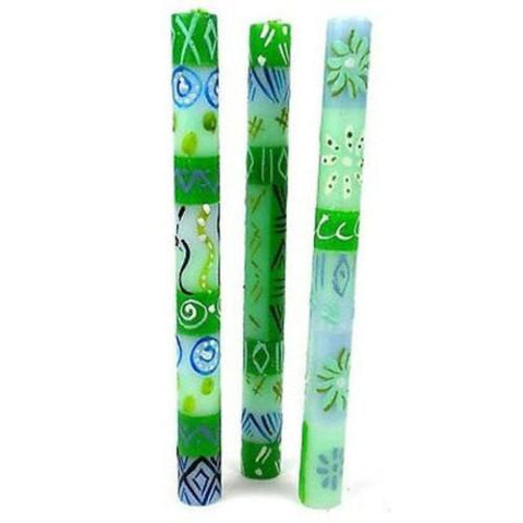 Set of Three Boxed Tall Hand-Painted Candles Farih Design Handmade and Fair Trade