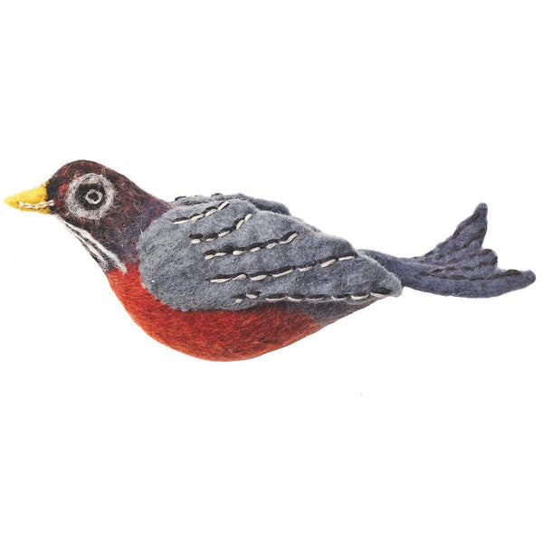 Felt Garden Bird Ornament - Robin Handmade and Fair Trade