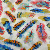 Cream Feather Polyester Scarf - Asha Handicrafts