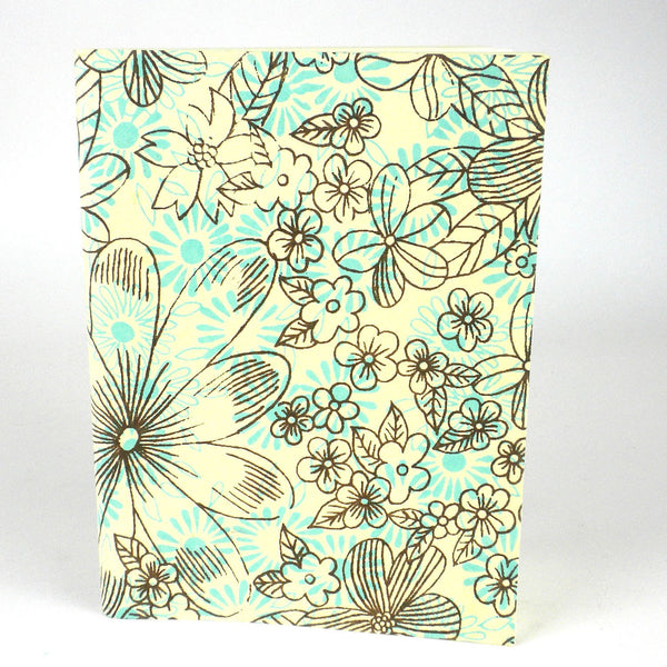 Sky Blue Floral Soft Journal - Sustainable Threads (J)