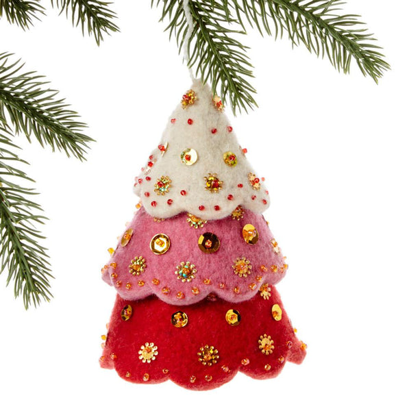 Tiered Red Tree Felt Holiday Ornament - Silk Road Bazaar (O)