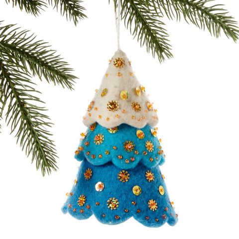 Tiered Blue Tree Felt Holiday Ornament - Silk Road Bazaar (O)