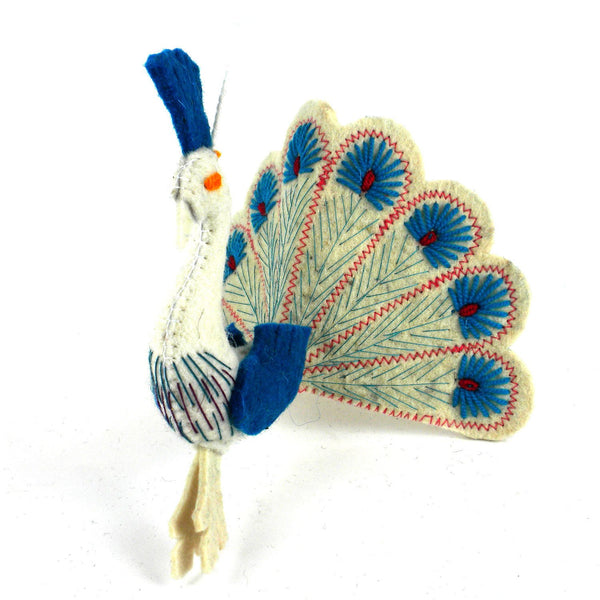 White Peacock Turquouse Felt Holiday Ornament - Silk Road Bazaar (O)