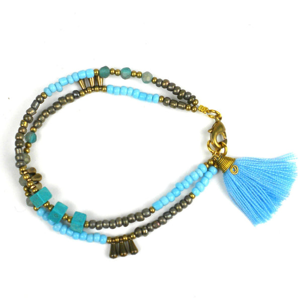 Kerala Tassel Bracelet Cloud - Global Groove (J)