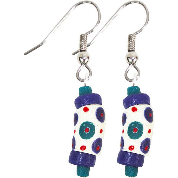 Hand Painted Earrings White - Global Mamas