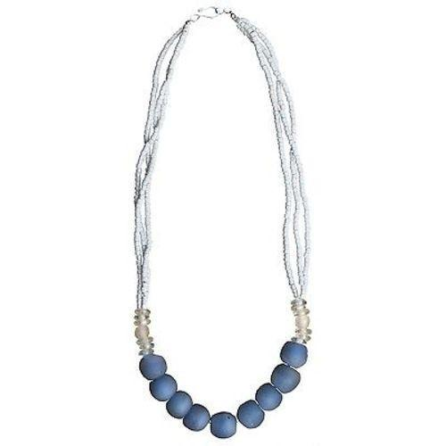 Recycled Blue Abacus Glass Bead Necklace Handmade and Fair Trade