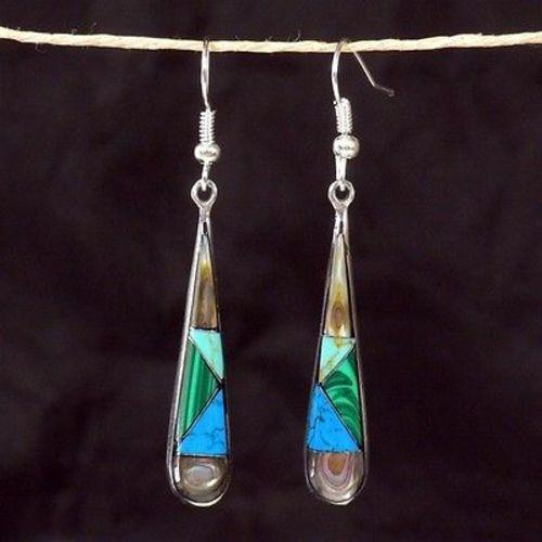 Stone and Shell Tear Drop Earrings Handmade and Fair Trade