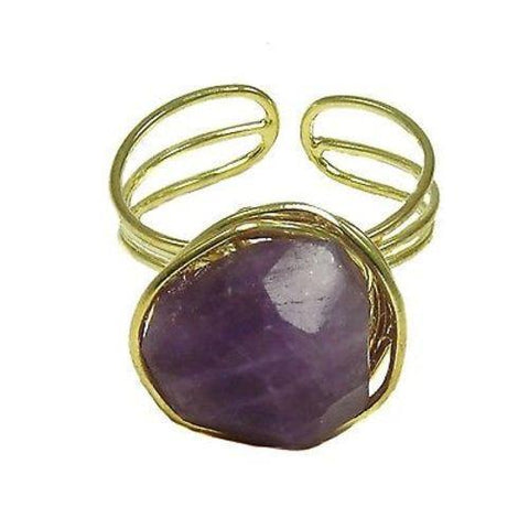 Agate Chunk Statement Ring in Plum Handmade and Fair Trade