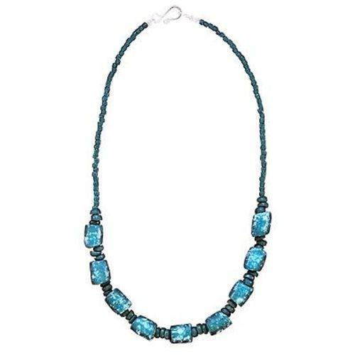 Recycled Glass Marble Necklace in Teal Handmade and Fair Trade