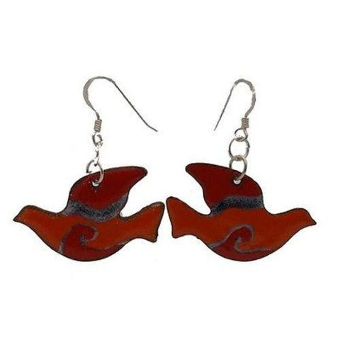 Red Enamel on Copper Peace Dove Earrings Handmade and Fair Trade
