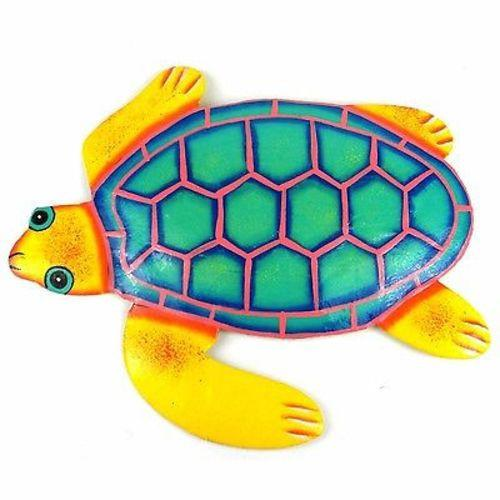Hand Painted Metal Turtle Yellow and Teal Design Handmade and Fair Trade