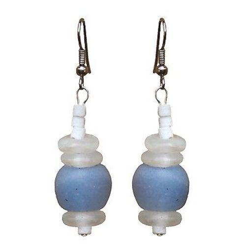 Recycled Blue Glass Abacus Earrings Handmade and Fair Trade