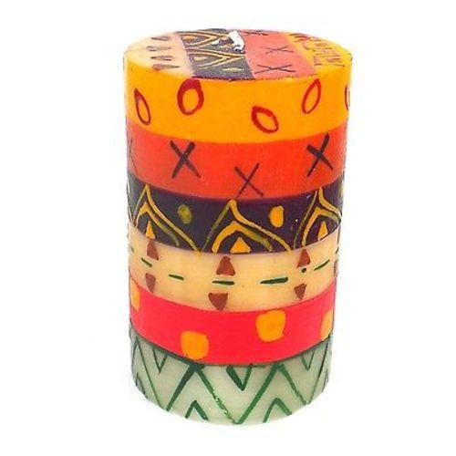 Single Boxed Hand-Painted Pillar Candle - Indaeuko Design Handmade and Fair Trade