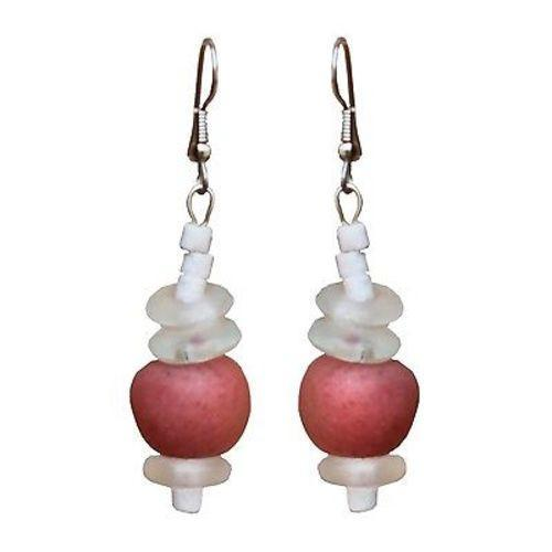 Recycled Pink Poppy Glass Abacus Earrings Handmade and Fair Trade