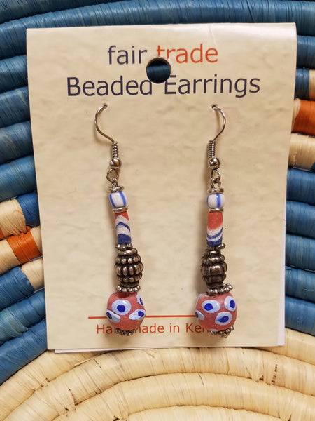Recycled glass bead earrings