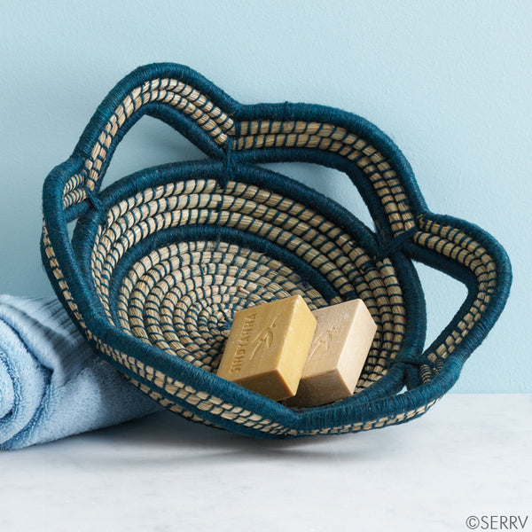 French Blue Scalloped Basket