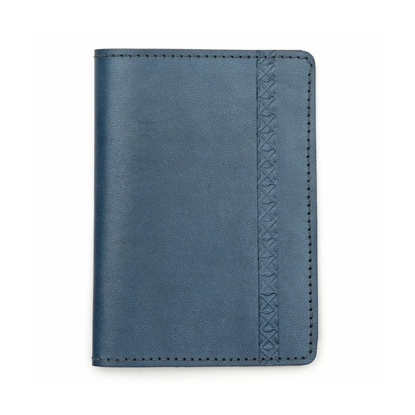 Sustainable Leather Passport Wallet - Blue - Matr Boomie (W)
