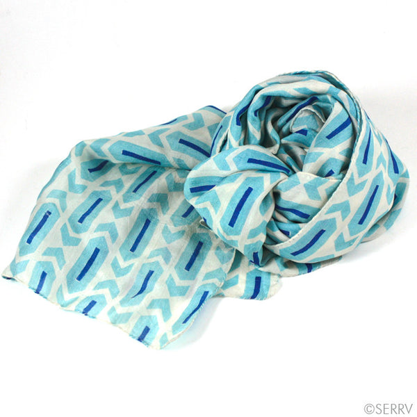 Blue Arrows Silk Scarf