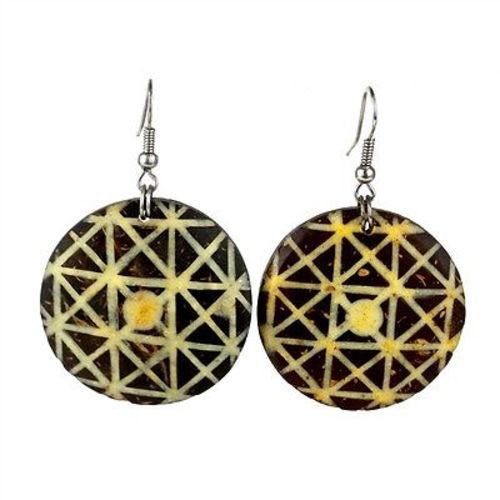 Round Coconut Earrings inlaid with bone
