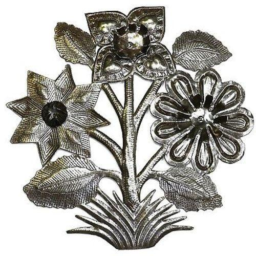 Flowers Metal Wall Art 15-inch Diameter Handmade and Fair Trade