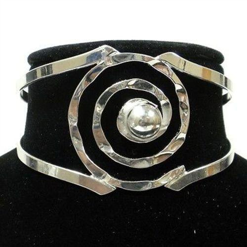 Silver Overlay Hammered Spiral Cuff Bracelet Handmade and Fair Trade