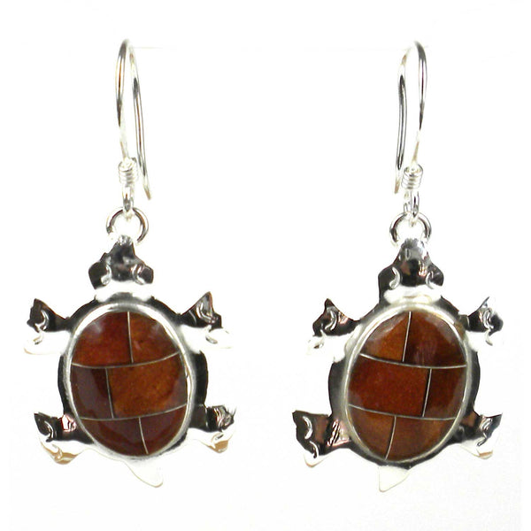 Turtle Earrings with Tiger Eye Design - Artisana