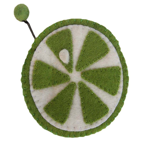 Handmade Felt Fruit Coin Purse - Lime - Global Groove (P)