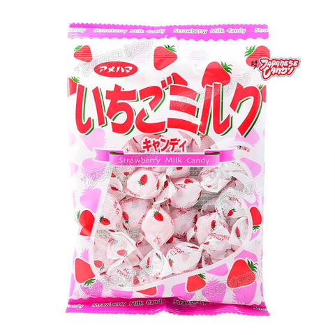 Japanese Candy: Amehama Strawberry Milk Hard Candy