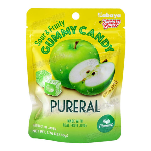 Japanese Candy: Kabaya Pureral Sour & Fruity Gummy (Green Apple)