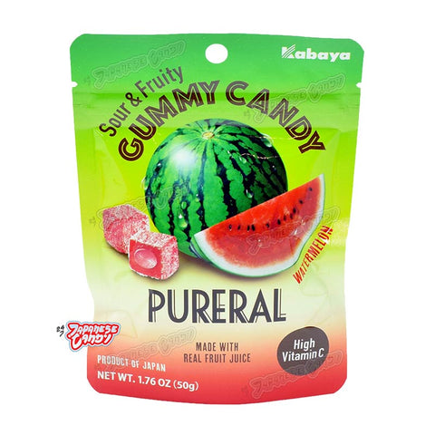 Japanese Candy: Kabaya Pureral Sour & Fruity Gummy (Watermelon)