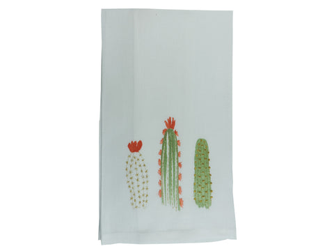 Cactus Bloom Tea Towel White