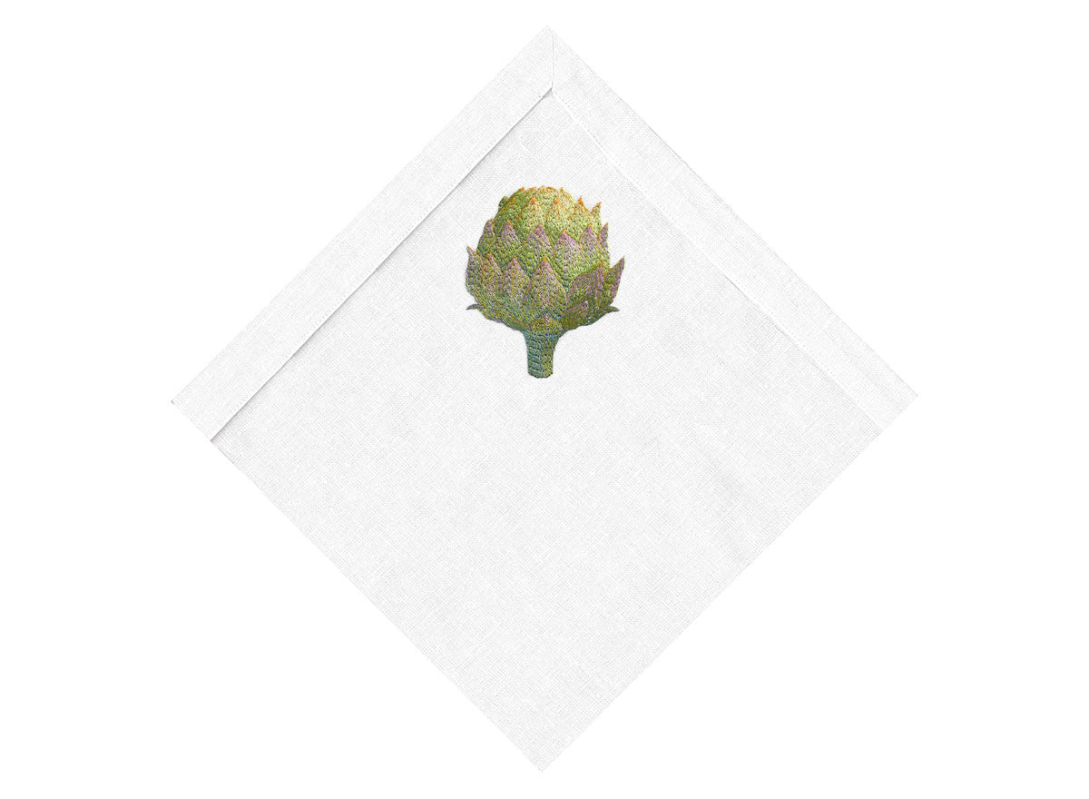 Green Closed Artichoke on White Linen Napkin