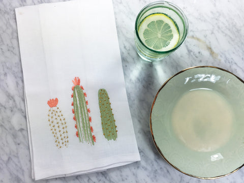 Cactus Bloom Tea Towel with Anthropologie Plates and Glasses